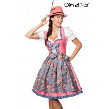 Satin Dirndl mit Denim Schürze rosa blau von Dirndline