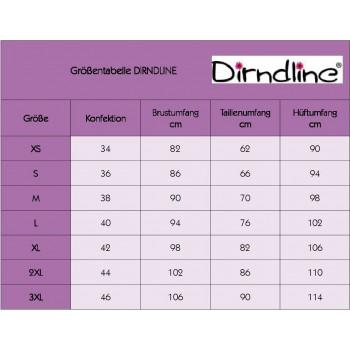 Satin Dirndl mit Denim Schürze rosa blau von Dirndline - XS bis 3XL