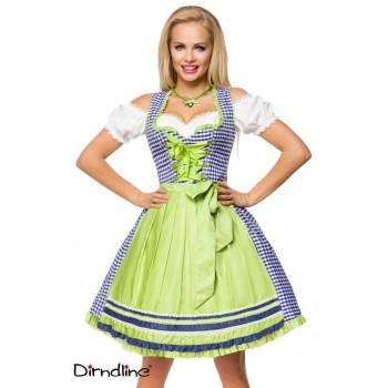 Oktoberfest Wiesn Dirndl blau weiß kariert & Schürze Dirndline