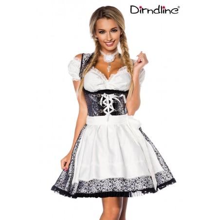 Premium Dirndl & Bluse silber weiß schwarz von Dirndline