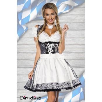 Premium Dirndl & Bluse silber weiß schwarz von Dirndline XS bis 3XL