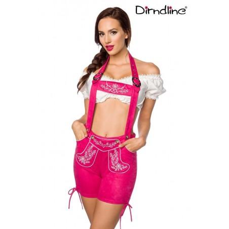 Trachten-Shorts kurz pink Veloursleder-Optik von Dirndline