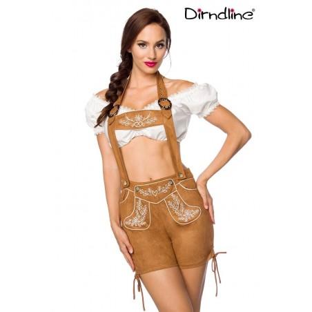 Trachten-Shorts kurz braun Veloursleder-Optik von Dirndline