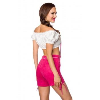 Trachten-Shorts kurz pink Veloursleder-Optik von Dirndline XS S M L