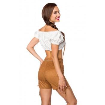 Trachten-Shorts kurz braun Veloursleder-Optik von Dirndline XS S M L