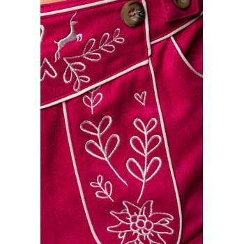 Trachten-Hose 3/4 lang pink Veloursleder-Optik von Dirndline XS - 2XL