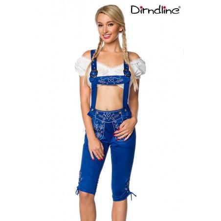 Trachten-Hose 3/4 lang blau Veloursleder-Optik von Dirndline