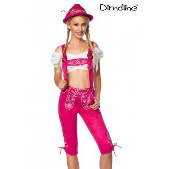 Trachten-Hose 3/4 lang pink Veloursleder-Optik von Dirndline