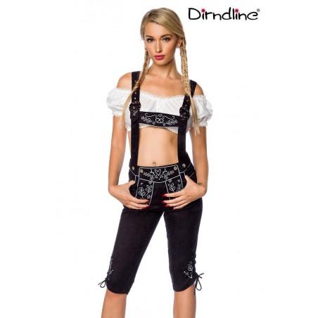 Trachten-Hose 3/4 lang schwarz Veloursleder-Optik von Dirndline