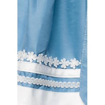 Romantisches Blümchen-Dirndl weiß blau von Dirndline XS bis 3XL