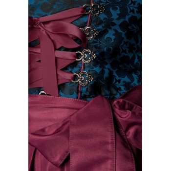 Premium Dirndl & Schürze blau dunkelrot von Dirndline XS - 3XL