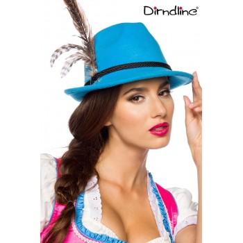 Traditioneller Trachtenhut blau mit Federn von Dirndline