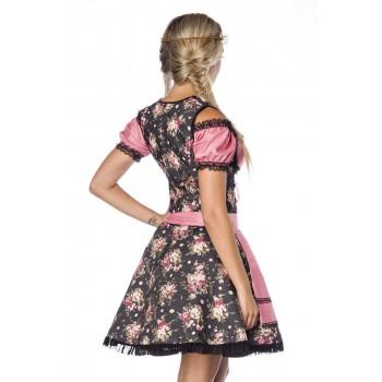 Premium Bluse & Dirndl aus edlem Denim schwarz Blumen XS bis 3XL